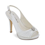 Coloriffics Womens Avalon White Satin Peep/Open Toe Prom and Evening Shoes