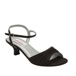 Dyeables Womens Brielle Black Satin Sandals Wedding Shoes