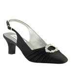 Dyeables Womens Ann Black Satin Pumps Wedding Shoes