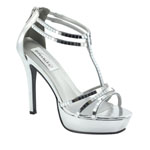 Dyeables Womens Shimmer Silver Synthetic Platforms Prom and Evening Shoes