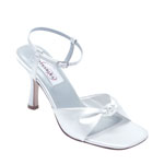 Dyeables Womens Love Knot White Satin Sandals Wedding Shoes
