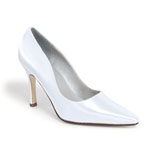 Dyeables Womens Debutante White Satin Pumps Wedding Shoes
