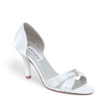 Dyeables Womens Daisy White Satin Peep/Open Toe Wedding Shoes
