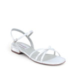 Dyeables Womens Palace White Satin Sandals Wedding Shoes