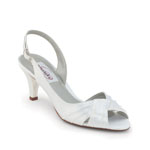 Dyeables Womens Nicky White Satin Peep/Open Toe Wedding Shoes