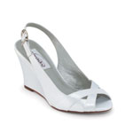 Dyeables Womens Coleen White Satin Wedge Wedding Shoes