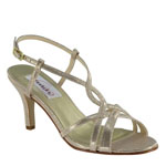 Dyeables Womens Elvira Champagne Metalllic Sandals Prom and Evening Shoes
