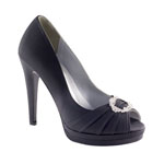 Dyeables Womens Gianna Black Satin Platforms Wedding Shoes