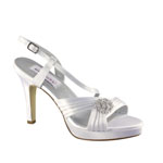 Dyeables Womens Jocelyn White Satin Platforms Wedding Shoes
