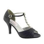 Dyeables Womens Makayla Black Satin Sandals Wedding Shoes