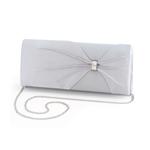 Dyeables Womens 1805 Silver Satin   Wedding Handbags