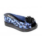 Helens Heart Womens CFW-8127-18 BlueLeopard Beaded Sandals Casual Shoes