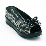 Helens Heart Womens CFW-8127-22 BlackLeopard Beaded Sandals Casual Shoes