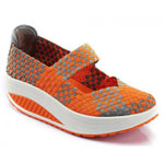 Helens Heart Womens CFW-S04 Orange Fabric Sneakers Casual Shoes