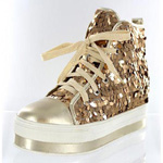 Helens Heart Womens FS-908-101 Gold Synthetic Sneakers Casual Shoes