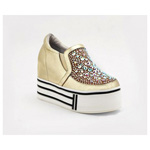 Helens Heart Womens FS-913-23 Gold Beaded Sneakers Casual Shoes