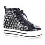 Helens Heart Womens FS-TN001 Black Sequin Sneakers Casual Shoes