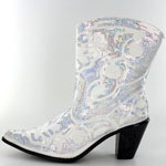 Helens Heart Womens LB-0290-11 White Sequin Boots Casual Shoes