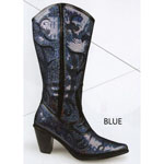 Helens Heart Womens LB-0290-12 Black/Blue Sequin Boots Casual Shoes