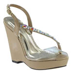 Johnathan Kayne Womens Wedge Taupe Synthetic Sandals Pageant Shoes