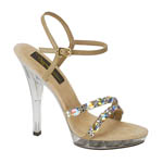 Johnathan Kayne Womens Austria Taupe Beaded Platforms Prom and Evening Shoes