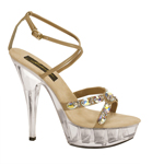 Johnathan Kayne Womens Juno Taupe Beaded Sandals Prom and Evening Shoes