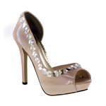 Johnathan Kayne Womens Galactica Champagne Patent Peep/Open Toe Prom and Evening Shoes