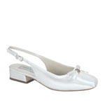 Touch Ups Girls Rosie White Satin Sling Back Flower Girls Shoes