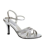 Touch Ups Womens Taryn Silver Glitter Sandals Prom and Evening Shoes