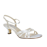 Touch Ups Womens Dakota White Satin Sandals Prom and Evening Shoes