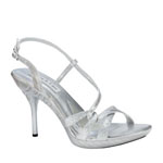 Touch Ups Womens Fortuna Silver Glitter Sandals Prom and Evening Shoes