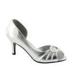 Touch Ups Womens Ivanna Silver Satin Sandals Wedding Shoes