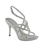 Touch Ups Womens Trinity Silver Synthetic Sandals Prom and Evening Shoes