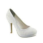 Touch Ups Womens Bobbie White Satin Pumps Wedding Shoes