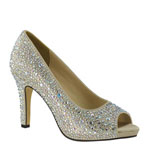 Touch Ups Womens Eliza Champagne Satin Sandals Prom and Evening Shoes