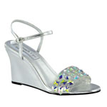 Touch Ups Womens Norma Silver Beaded Wedge Prom and Evening Shoes