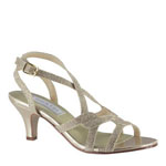 Touch Ups Womens Flatter Champagne Synthetic Sandals Prom and Evening Shoes