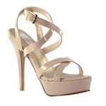 Touch Ups Womens Andrea Nude patent Metalllic Platforms Prom and Evening Shoes