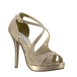 Touch Ups Womens Dana Champagne Metalllic Platforms Prom and Evening Shoes
