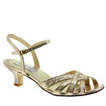 Touch Ups Womens Jane Champagne Glitter Sandals Prom and Evening Shoes