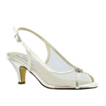 Touch Ups Womens Elite White Satin Sling Back Wedding Shoes
