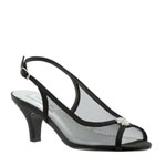 Touch Ups Womens Elite Black Satin Sling Back Prom and Evening Shoes