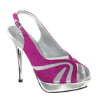 Touch Ups Womens Virginia Fuchsia Glitter Platforms Prom and Evening Shoes