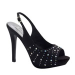 Touch Ups Womens Brooke Black Satin Platforms Prom and Evening Shoes