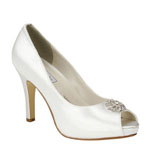Touch Ups Womens Joyce White Satin Peep/Open Toe Wedding Shoes