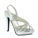 Touch Ups Womens Stephanie Silver Metalllic Platforms Prom and Evening Shoes