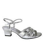 Touch Ups Womens Monaco Silver Satin Sandals Prom and Evening Shoes