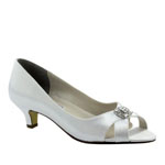 Touch Ups Womens Dot White Satin Pumps Prom and Evening Shoes