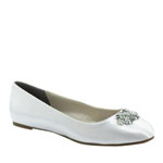 Touch Ups Womens Meghan White Satin Platforms Prom and Evening Shoes