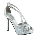 Touch Ups Womens Tiara Silver Glitter Pumps Prom and Evening Shoes